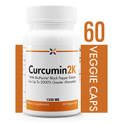 Stop Aging Now - Curcumin2K Formula with Black Pepper - With BioPerine Black Pepper Extract For Up to 2000% Greater Absorption - 60 Veggie - Pepper Bioperine Black