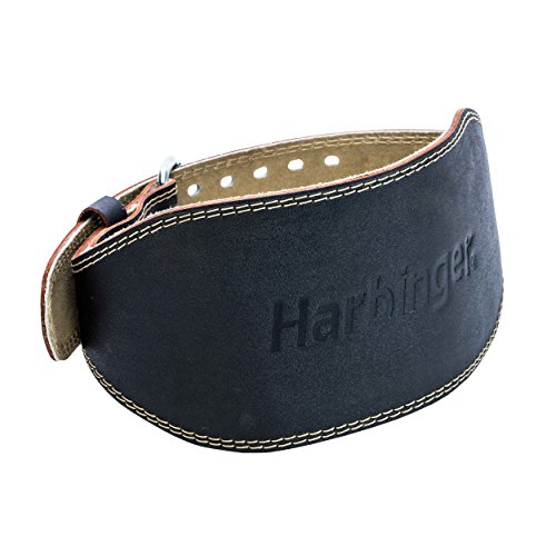 Harbinger 361002 Padded Leather Contoured Weightlifting Belt with Suede Lining and Steel Roller Buckle, 6-Inch, Medium