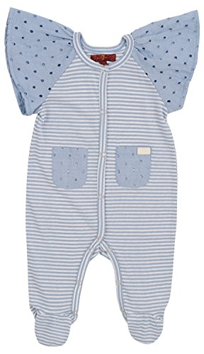(7 For All Mankind Girl's Striped Cap Sleeve Crewneck Snap Footed Pockets Sleep Onesie Ashley Blue 6-9 Months)