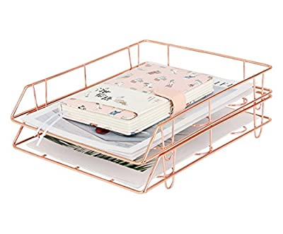 PAG Metal Stackable File Document Letter Tray Office Supplies Desk Organizer, Set of 2