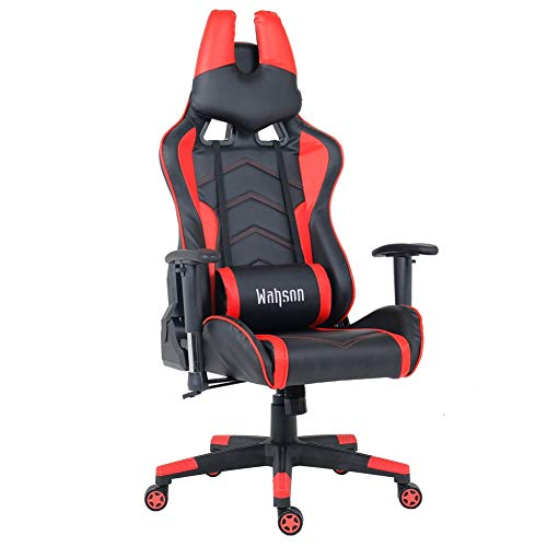 Racing Style Leather Gaming Chair Breathable Ergonomic Office Computer Chair with Lumbar Support and Headrest Black and Red