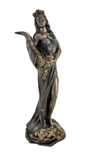 Bronze Finish Fortuna Roman Goddess of Luck Lady Tykhe Statue