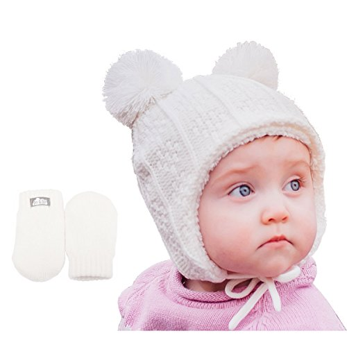 Baby Toddler Warm Fall Winter HAT & Mitten Fleece Lined Unisex (S: 3-9 Months, Hat & Thumbless Mitten Set: Cream Bear)