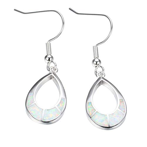 - B&H-ERX Women Hollow Water Drop Pendant Earrings 925 Sterling Silver Earrings Hypoallergenic Simple Earrings/Birthday Gifts,White