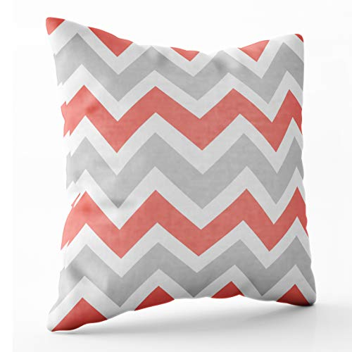 Shorping Zippered Pillow Covers Pillowcases 16X16 Inch coral peach coral gray white chevron zigzag pattern Decorative Throw Pillow Cover ,Pillow Cases Cushion Cover for Home Sofa -