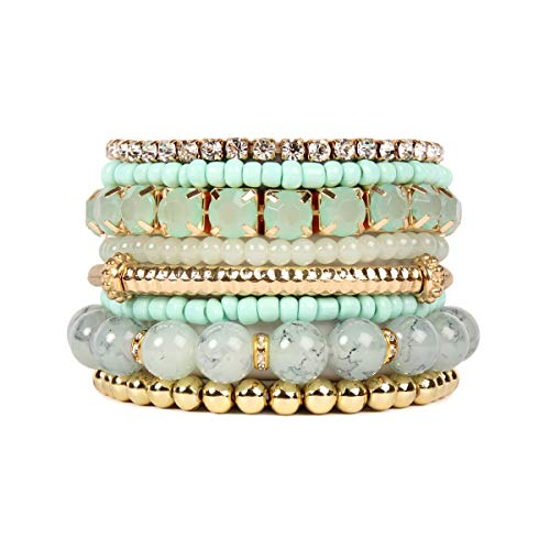 RIAH FASHION Multi Color Stretch Beaded Stackable Bracelets - Layering Bead Strand Statement Bangles ([S-M] Light Mint)