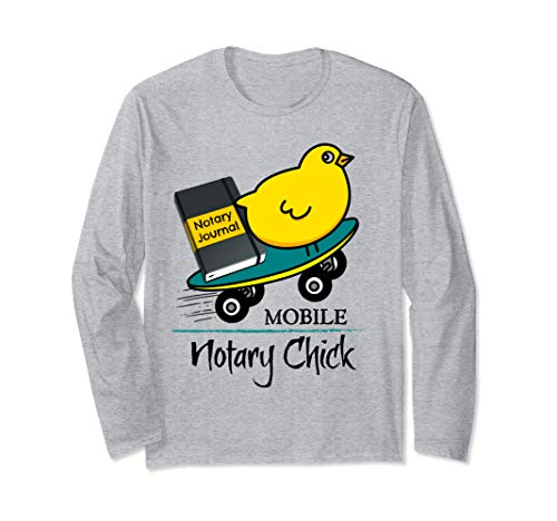Mobile Notary Chick Skateboard in Motion with Notarial Journal Long Sleeve T-Shirt