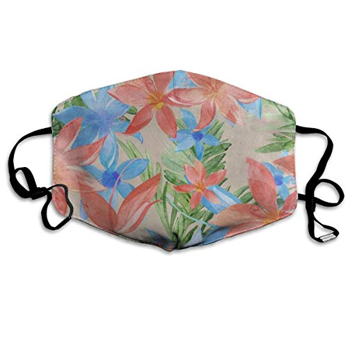 Face Mask Watercolor Tropical Floral Flower Great Cycling Half Face Earloop Nose Mask for Men ()