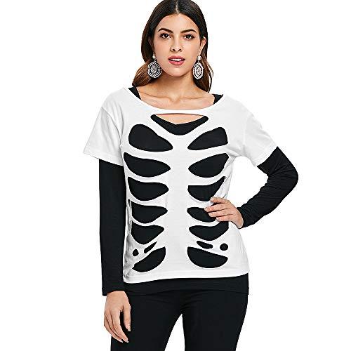 DEZZAL Women's Long Sleeve Skeleton Cut Out Ripped