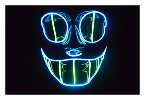 El Wire Mask Cheshire Cat for Halloween and Lightshows (Blue/Green) - Cheshire Cat Mask
