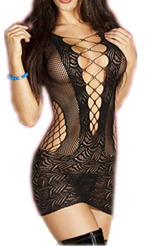 BeCrazier Women's Black Sexy Crotchet Mesh Hollow-out Mini Chemise Dress