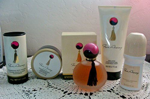 Avon Far Away Eau de Parfum, Talc, Lotion, Skin Sofener & Deodorant Roll On (Far Away Perfume Set)