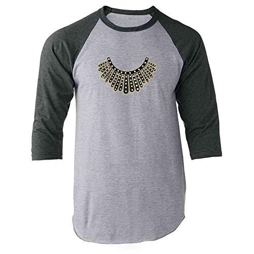 Pop Threads RBG Dissent Jabot Collar Supreme Court Justice Gray S Raglan Baseball Tee Shirt]()