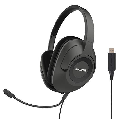 [해외]코스 SB42 USB 통신 헤드셋 | 마이크 | 착탈식 코드 디자인 | 풀 사이즈 오버이어 헤드폰 / Koss SB42 USB Communication Headset | Microphone | Detachable Cord Design | Full Size Over-Ear Headphone