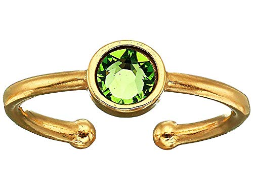 (Alex and Ani Women's Swarovski Color Code Adjustable Ring August Peridot, 14kt Gold Plated)