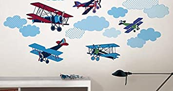 Stickers muraux décoratifs Mighty vintage planes wp format 80cm x ...