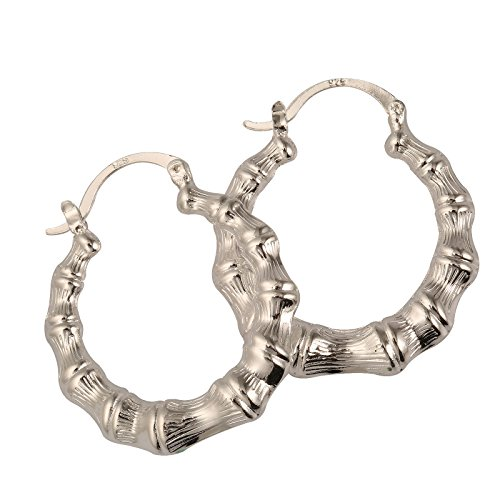 CY-Buity Korean Style Bamboo Patterns Hoop 925 Silver Plated Earring Ear Drop for Girls