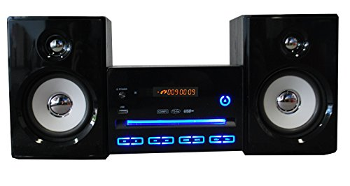 Kompaktanlage Design Stereoanlage Mini Hi-Fi Musikanlage CD USB Player Radio schwarz mit LED Beleuchtung