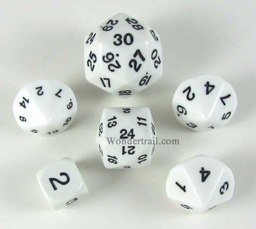White Special Who Knew 6 Dice Set