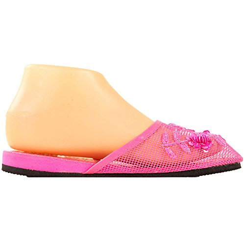 Pink Women's Fuchsia Beaded Floral Chinese Cammie Mesh Slippers P0wv0qx
