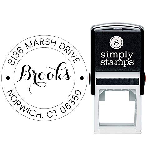 Custom Monogram Address Stamp Calligraphy Round | Custom Return Address Stamp | Self-Inking Stamp | Personalized Address Stamps |]()