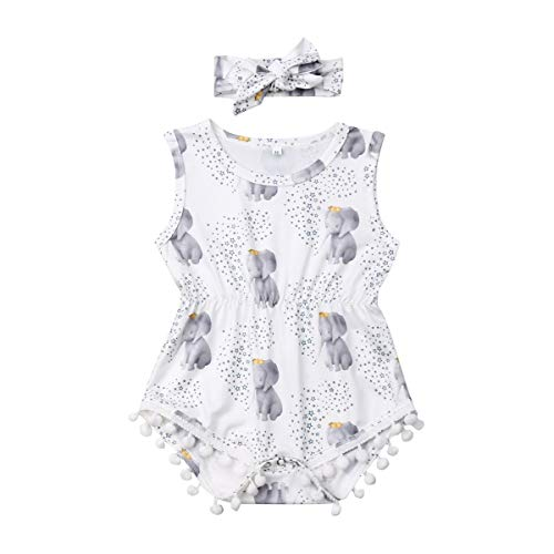 - Infant Baby Girls Floral Pompom Tassels Romper Bodysuit Sleeveless Jumpsuit Outfit with Headband Summer Clothes (Elephant-Stars, 18-24 Months)