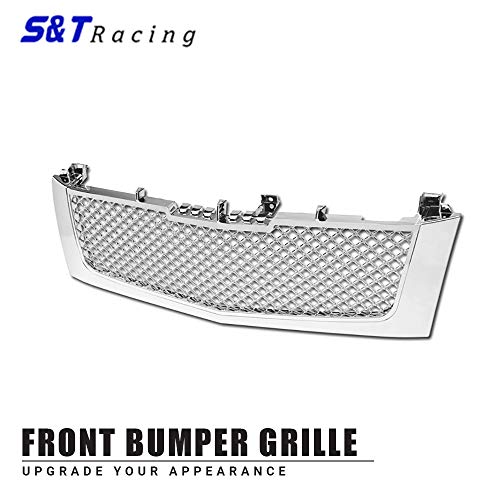Cadillac Escalade Chrome Grille - S & T RACING INC 2002-2006 Cadillac Escalade Chrome Front Luxury Mesh Hood Bumper Grill Grille
