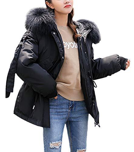 Lunga Pelliccia Vita Cappotti Inverno Caldo Giaccone Cappuccio Colori Con Eleganti Marca Giacche Piumino In Alta Moda Donna Outwear Nero Mode Di Invernali Manica Solidi mNywP8vn0O