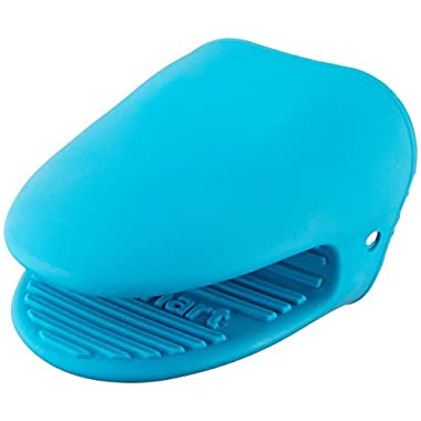 Cuisinart Heat Resistant Silicone Mini Oven Mitt, Cooking Pinch Grabber Grips, Includes 1 Mitt, Great for Handling Hot Cookware and Pans, Aqua Blue