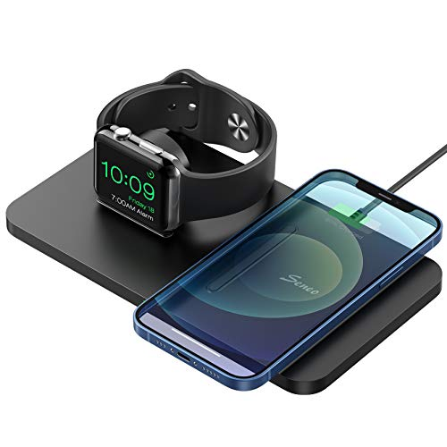 Seneo 2 in 1 Wireless Charger, Wireless Charging Pad for iPhone 12/12 Pro/12 Mini/11/11 Pro Max/SE 2/XS Max/XR/XS/X/8/8P/AirPods Pro/2, Charging Dock for iWatch SE/6/5/4/3/2(No Adapter/iWatch Cable)