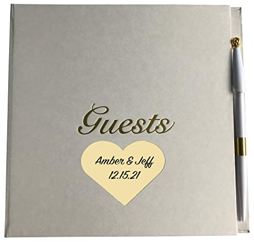 All Things Weddings, Personalized Engraved Gold Etched Wedding Anniversary Party Guest Book with Pen, Heart Style
