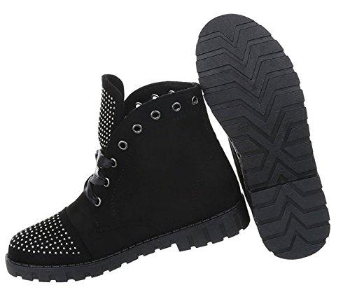 Damen Schuhe Stiefeletten Schnürer Boots Schwarz