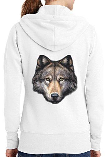 Womens Killer Wolf Full Zip Hoodie, White, 4X