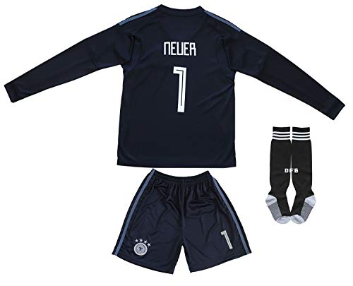 - KID BOX Germany Neuer #1 Goalie Football Soccer Kids Goalkeeper Jersey Short Socks Set Youth Sizes (Black (Long Sleeve), 6-7 Years)