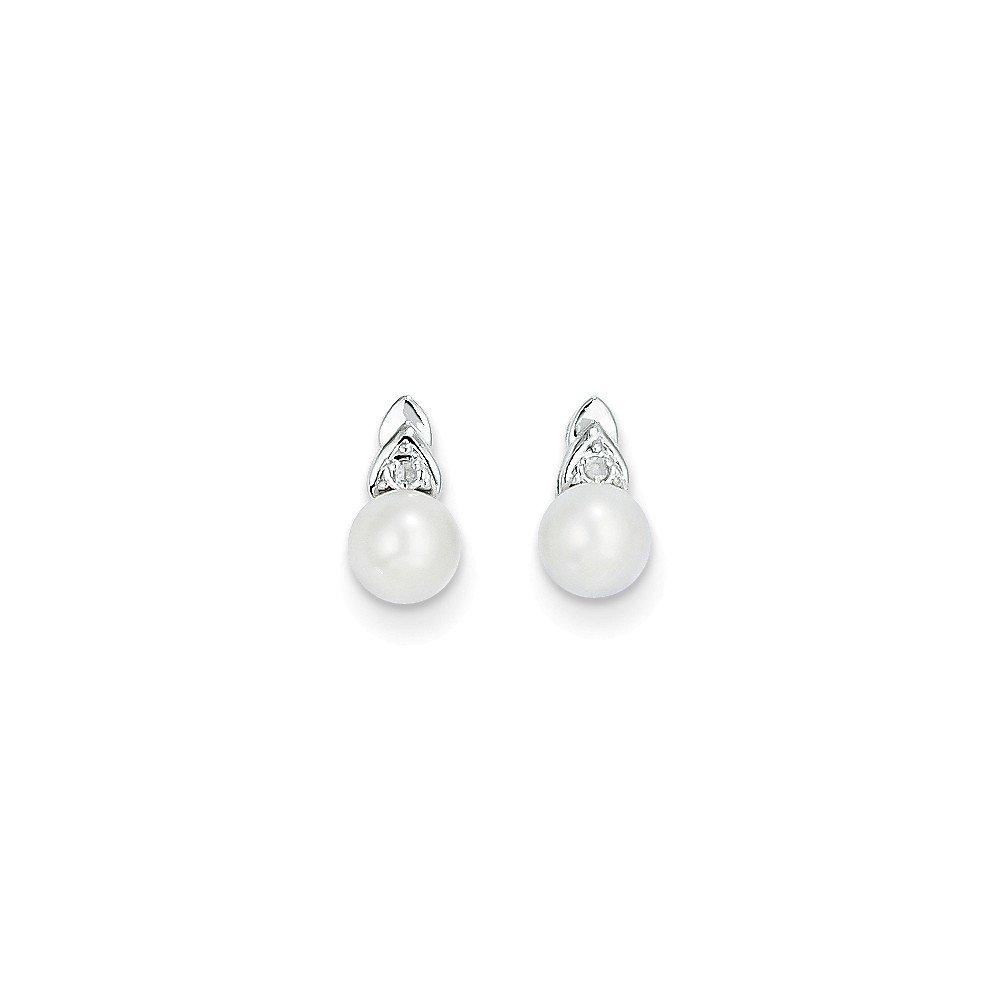 Genuine 14k White Gold Genuine FW Cultured Pearl June Birthstone Diamond Earring 9x5mm