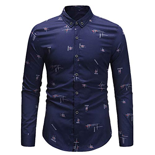 - Mens Long Sleeve Tops,Cinsanong Print Turn-Down Casual Plus Size Collar Shirt Fashion Loose T-Shirt