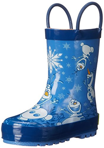 Western Chief Kids Waterproof Disney Character Rain Boots with Easy on Handles, Frozen Warm Hugs, 9 M US Toddler