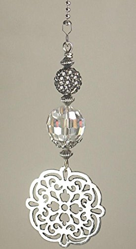 New Silvery Decorative Cut-out Medallion with Gunmetal Gray Rhinestone Ceiling Fan Pull Chain