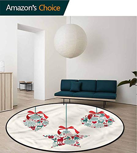 (RUGSMAT Christmas Modern Vintage Rugs,Bauble with Ribbon Motifs for Home Decor Bedroom Kitchen Etc Round-63)