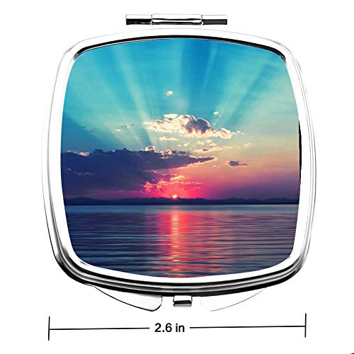 Elliptical Plane Make Up Mirror Small Fold Double Mirror for Purse Pocket -