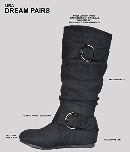 SUEDE WIDE Low High URA Hidden Wedge BLACK Boots Women's Wide Calf PAIRS DREAM CALF Available Knee q1xngpFO