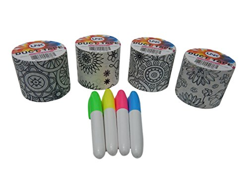 Unik Craft Coloring Doodle Duct Tape Variety Assortment 4 Count and 4 Permanent Markers (Set 5) (Duct Cheap Tape Decorative)