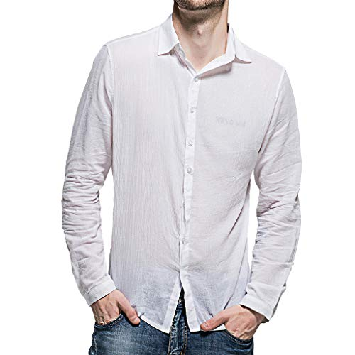 Plain Shirts for Men,Blouse MILIMIEYIK Mens Loose Fit Cuban Camp Linen Shirts Casual Button Down Beach Shirts,Tops Juniors White