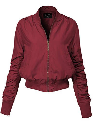 Warm Solid Color Shirring Sleeve Zipped Bomber Jackets