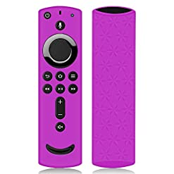 Remote Case/Cover for Fire TV Stick 4K, Protective Silicone Holder Lightweight [Anti Slip] ShockProof for Fire TV Cube/Fire TV(3rd Gen) Compatible with All-New 2nd Gen Alexa Voice Remote(Purple)