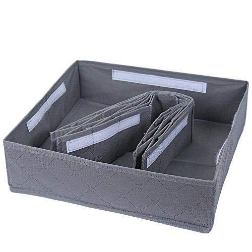 Gris Organizador de Ropa Interior y cajones para armarios y Cajas de Almacenamiento Plegables para Calcetines Corbatas Bufandas y pa/ñuelos 30 Compartimentos Depory
