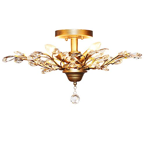 LightInTheBox 4 Lights Crystal Chandeliers Tree Leaves Floral Lamp 160W, Ceiling Lights,Crystal Pendant Lighting,Ceiling Light Fixtures for Living Room Bedroom Restaurant (Floral Ceiling Lamp)