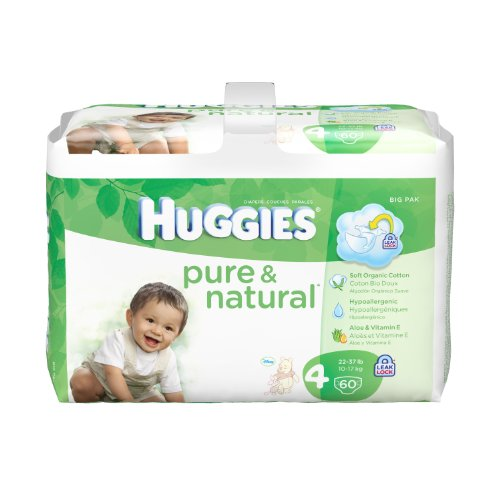 Huggies Pure and Natural Diapers, Size 4, 60 Count (Pack of 2) (Packaging May Vary), Health Care Stuffs