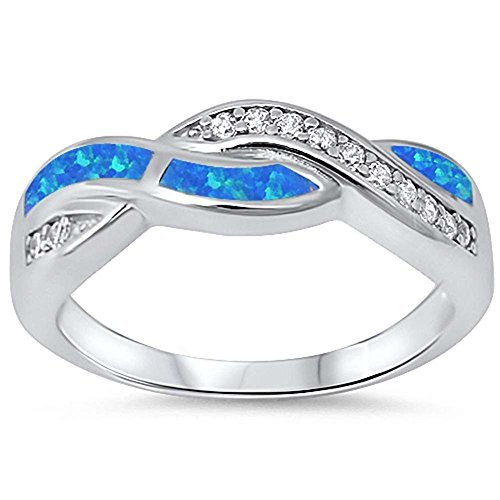 Opal Ring Blue Lab (Twisted Crisscross Infinity Ring Irregular Shape Lab Created Blue Opal Round Cubic Zirconia 925 Sterling Silver)