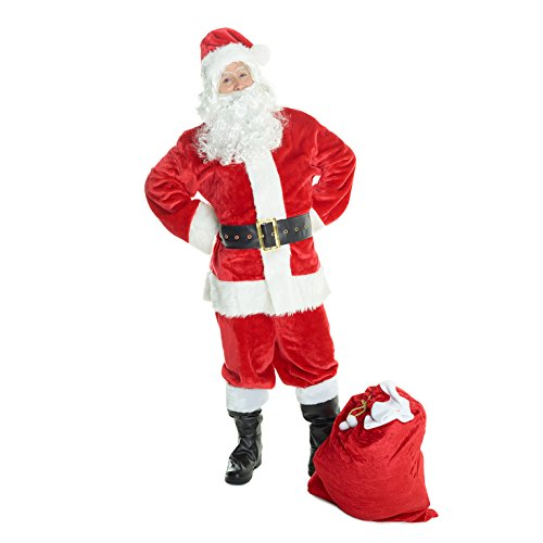 Mens Deluxe Santa Claus Costume Father Christmas Suit for Men Festive Outfit -